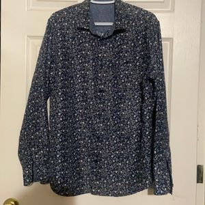 Professionally Sewn Long Sleeved Shirt / Blouse Navy with Floral Print